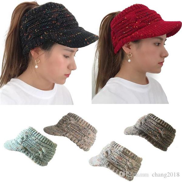 Empty Top Hat Knit Ponytail Wool Cap Ponytail Beanie Hat Soft Winter Cap Women Slouchy Beanies Hat Trendy Messy Bun Warm Caps fg022