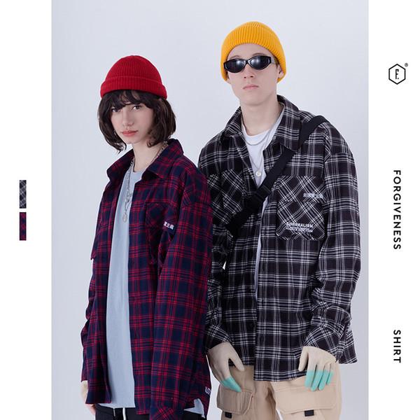 2019 Men Casual shirt fashion coat Lattice Shirt Male Tide Long Sleeves Embroidery Oversize Hip Hop Easy Autumn