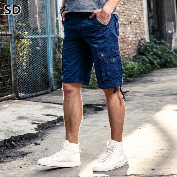 Shorts da carga da marca sd verão ocasional ao ar livre do exército multi-bolso marca clothing bermuda trabalho shorts homens moda curto homme 23