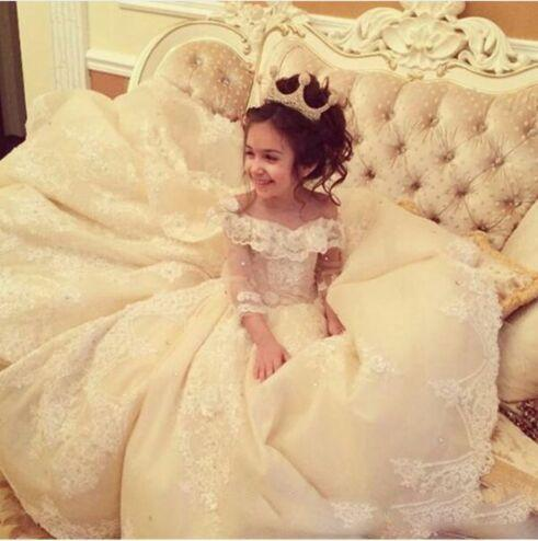 Gorgeous Off Shoulder Lace Applique Flower Girl Dresses For Wedding Sheer Long Sleeve Lace Up Back Girls Pageant Gowns Sweep Train