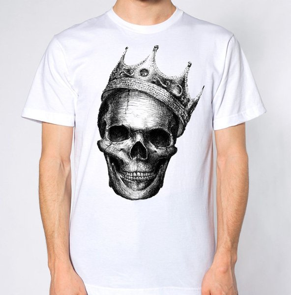 Floral Skull T-Shirt Flower Pattern Roses Vinatge Retro Hipster Top King Crown