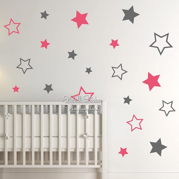 Nursery Stars Wall Sticker, Star Wall Decal, Star Wall Stickers For Kids Room, Children Room Decoration, Boys Girls Decal
