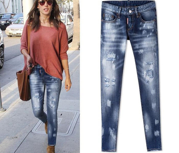 Мода-Женщины ковбойские штаны Luxury Популярные Краска забрызгала Поврежденные джинсы с детализацией Лоскутная Sexy Twist Fit