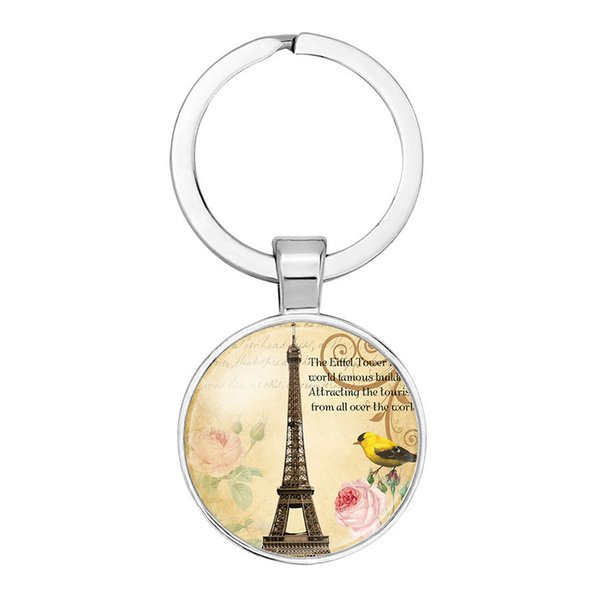 Eiffel Tower Pendant Pendant Keychain Convex Glass dome Silver Pendant Keychain 6 styles to choose from