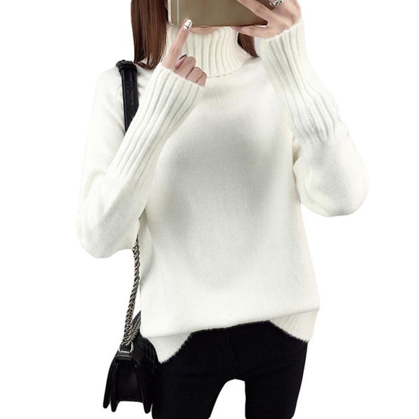 Loose Turtleneck Women Autumn Winter Sweater Thick Warm Pullover And Sweater Soft Long Sleeves Jumper Femme Pull Re0988