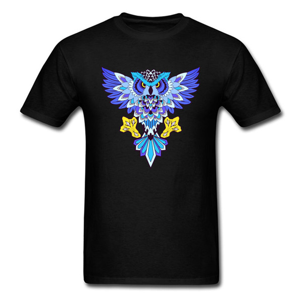Mr. Owl Tops Men TShirt Male T Shirts Printed Tee-Shirt Graphic O-Neck Casual Black Clothes 100% Cotton Fabric Free Shipping