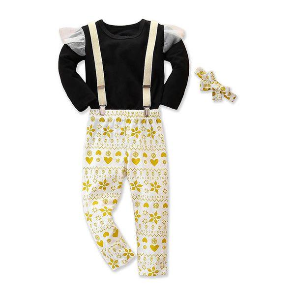 INS bébé filles costumes dentelle t-shirt + pantalon + jarretelle arcs serre-tête 3pcs / vêtements bébé fille nouveau-né ensemble tenues A9833