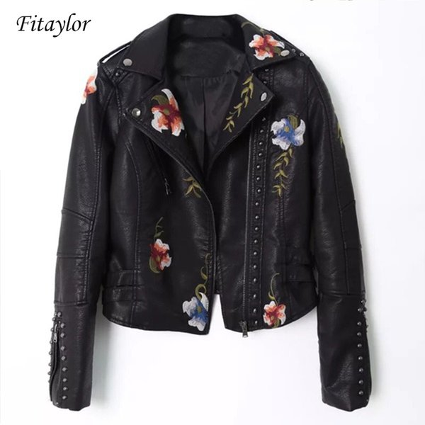 Women Embroidery Pu Leather Jacket Faux Soft Leather Black Punk Rivet Short Coat Zipper Pu Motorcycle Lady Outerwear