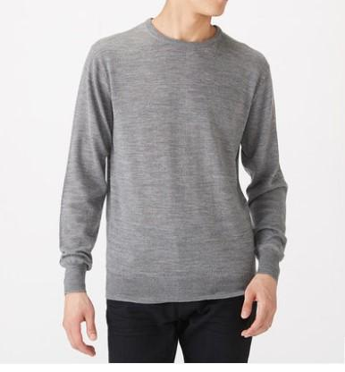 2019 fall winter men's merino wool crew neck swearter men 100% merino wool pullover sweater thermal sweater usa size m-l thumbnail