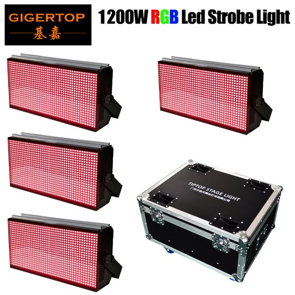 4in1 Flightcase Pack 1200W RGB SMD 5050 LED Disco Strobe Light For DJ Party Club Bar KTV Holiday Flash Auto DMX Sound-Activated Stage Light