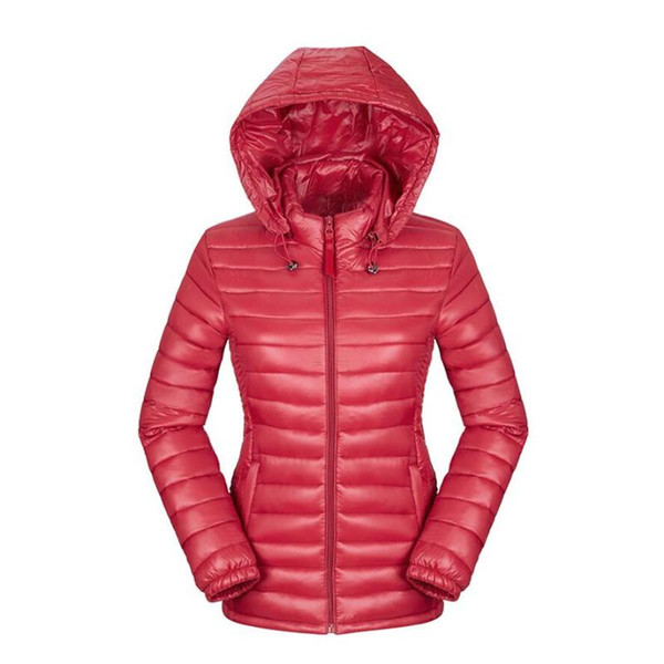 Winter Women Ultra Light Down Jacket Down Hooded Jackets Long Sleeve Warm Slim Coat Parka Female Solid Portabl Outwear