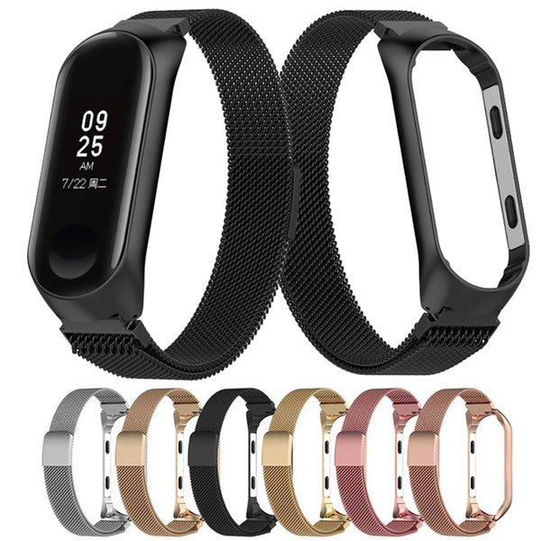 New arrival milane e loop magnetic tainle teel band trap for xiaomi mi band 3 miband 4 mart wri tband replacement wri t trap belt