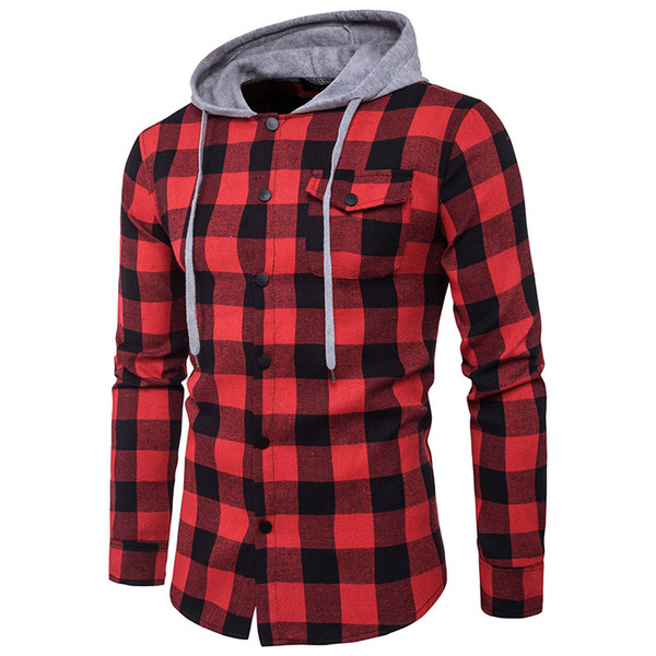 Rouge Noir Plaid à capuche manches longues hommes Slim Fit Chemises Sweats à capuche Bouton Checkered poche Homme