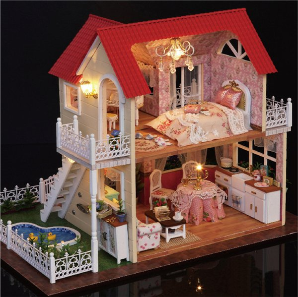 DIY Assemble Princess Wooden Doll House Miniature Box Kit Model With LED Furnitures Handcraft Miniatures Dollhouse