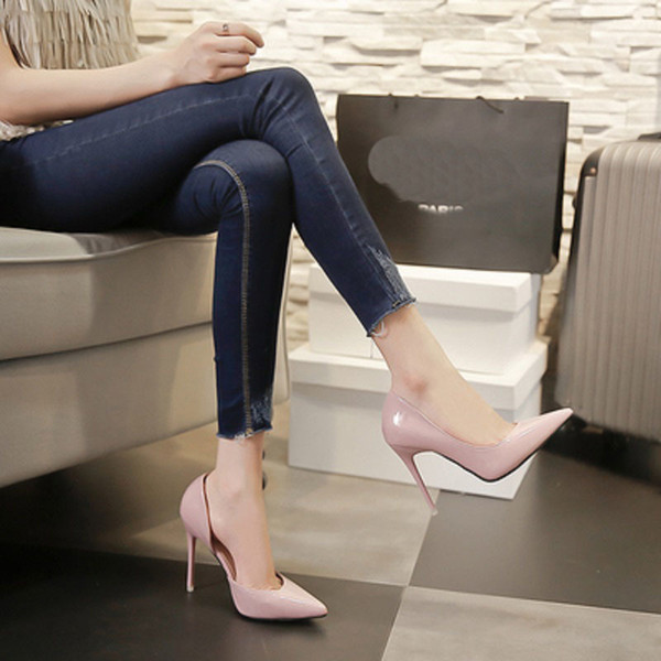 Dress New Style Pink High Heels Women Shoes Sexy High Heels Shoes Sandles Pink Women's Pumps Women Shoes Paint Leather