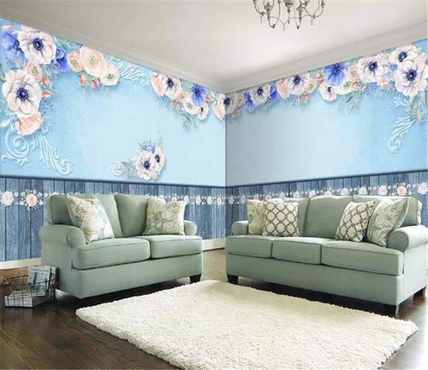 European retro beautiful flower whole house custom background wall romantic 3d wallpaper