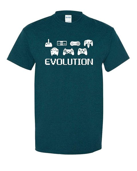 f92be2b3 Evolution Video Game 8 Bit Old School Funny Tee Adult Men's Graphic T-Shirt  Funny