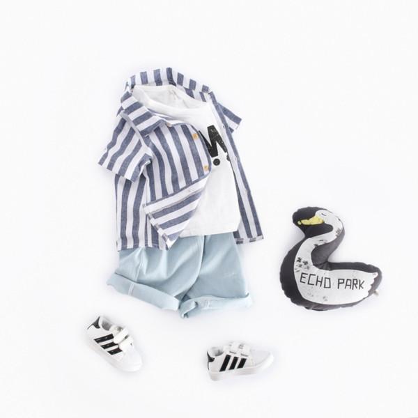 Jungen entsprechen Sommer gestreiften Hemd Kinder Kleidung Großhandel Denim Bambus Shorts Kind Kurzarm Kostüm zweiteilig