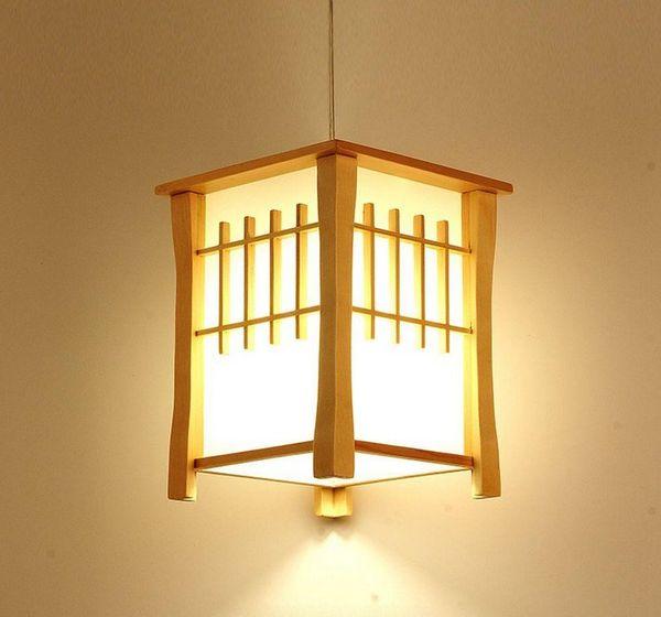 LLFA Clásico De Madera Balcón Lámparas Colgantes Comedor de Estilo Japonés Colgante de Luz Pasillo Pasillo Lámpara Colgante