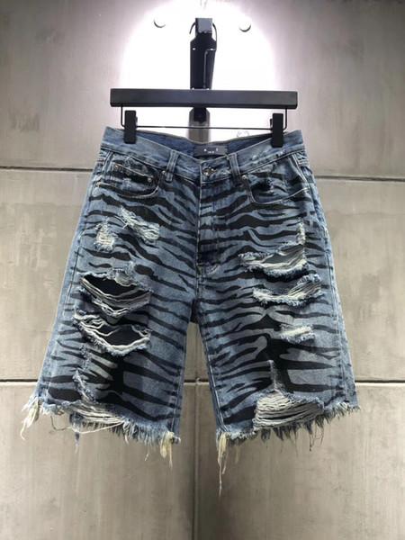 2019The new Fashion Herren Ripped Print Kurze Jeans Marke Kleidung Bermuda Sommer Baumwolle Shorts Atmungs Denim Shorts Männlich