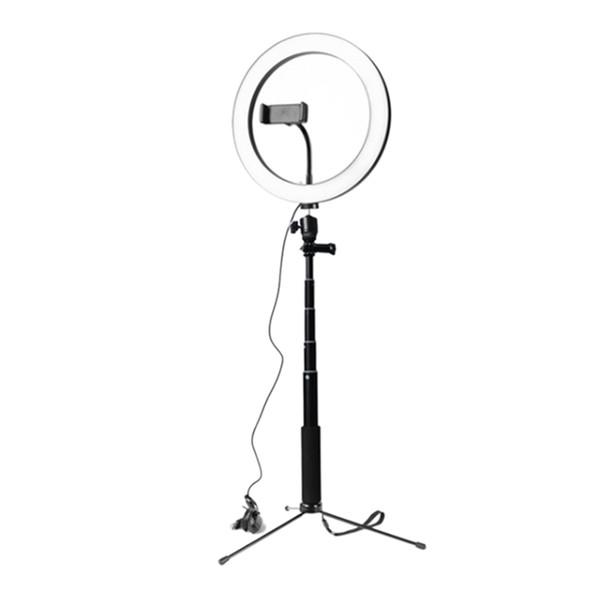 26CM dimmbare LED-Ringlicht Foto Phone Video-Licht-Lampe mit Licht Selfie Stick-Ring-Telefon-Halter (schwarz)