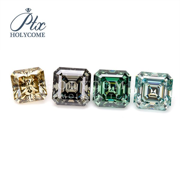 Asscher cut colourful sparking square shape VVS high quality factory price wholesale loose synthetic gemstone moissanite diamond