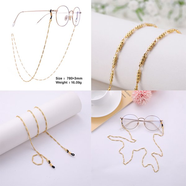 Dropshipping Copper Gold and Silver Plated Link and Ball Chain Sunglass Chain Long Eyeglass Chain Jewelry Free Shipping 5pcs/lot