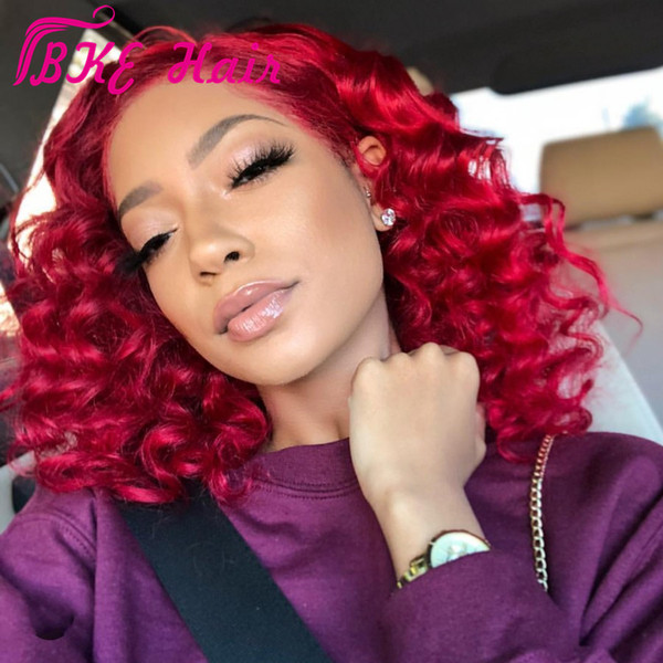 New red color kinky Curly Lace Front Wigs synthetic For Black Women With Baby Hair Glueless Pre Plucked africa women Short Bob Wig