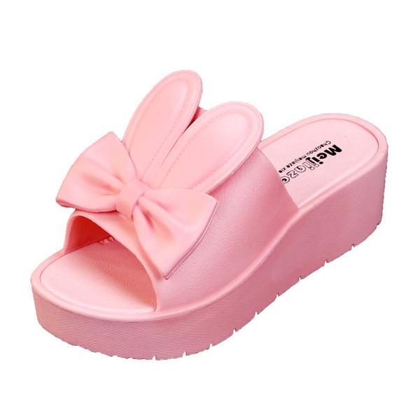 Red Slipper Womens Cartoon Hasenohren Plattform Strand Hausschuhe Frauen Pink Slides Outdoor Hausschuhe Damen Sandalen Chanclas De Mujer Playa