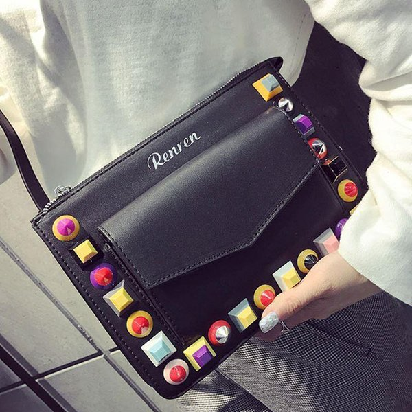 Candy Color Envelope Clutch Bags Famous Brands Designer Rivet Crossbody Bag Fashion Women Wristlet Hand Bag Leather Briefcase