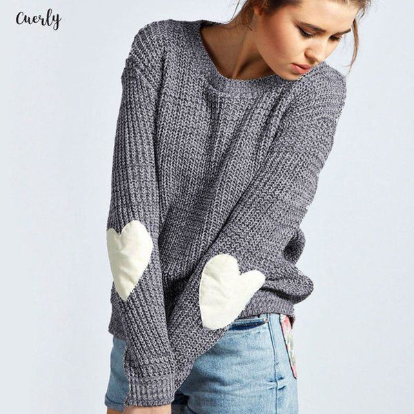Pullover Frauen Winter Herbst neue Frauen Knitwear Mode Jumper Heart Shaped Spliced gestrickte Langarm-Pullover Tops