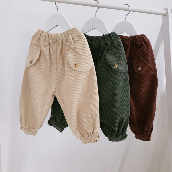 2018 New Autumn Cotton Baby Boys Casual Corduroy Pants for Baby Girls Kids Trousers Harem Pants Winter Children Clothes 1-5 Year