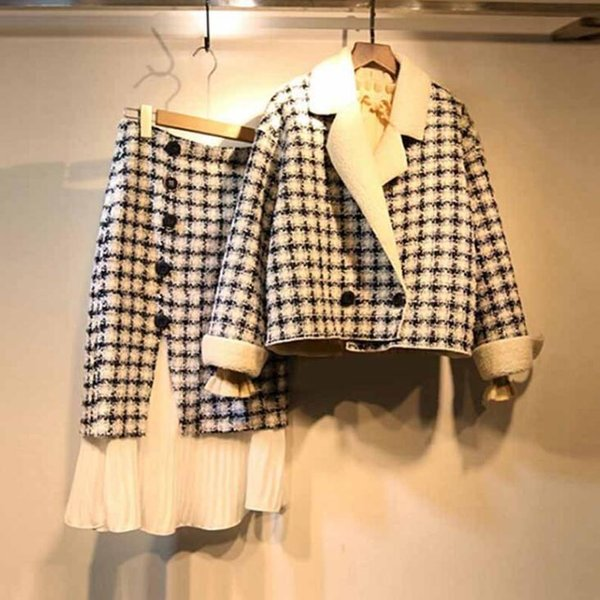 Spring Winter 2019 New Two-piece Fashion Suit Plus Size Slim Fat Girl's Concinnity Skirt Chequered Stripe Skirt M-4XL