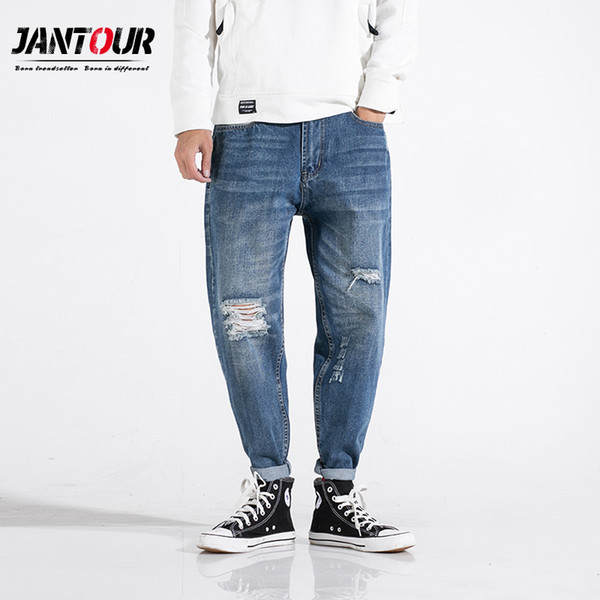 Jantour 2019 spring summer new quality blue hole jeans men fashion haren loose pants Hip hop trousers male large size 28-40-42