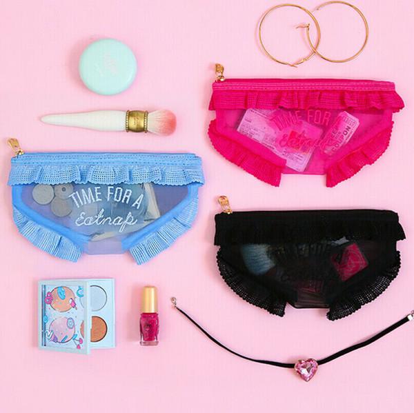 Mode kleine tasche niedlich rüschen unterwäsche stil münze reißverschluss geldbörse karte kosmetiktaschen schwarz blau rosa