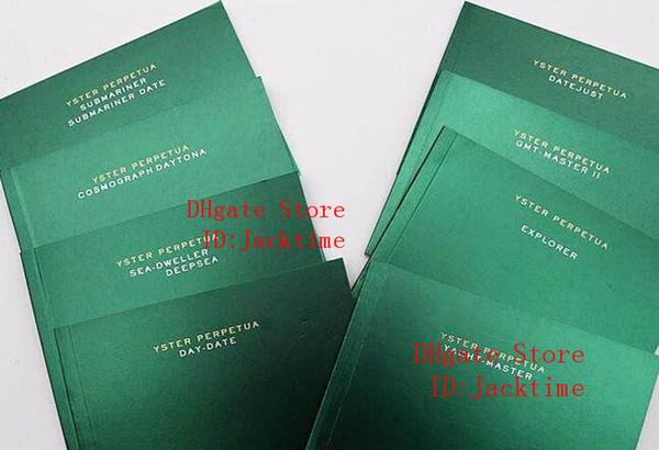 Tüm serisi Orijinal Doğru Kağıtlar Lüks Üst Yeşil Hediye Çantası Rolex Kutuları Kitapçıklar için Saatler Ücretsiz Özel Baskı Modeli Seri Numarası kart