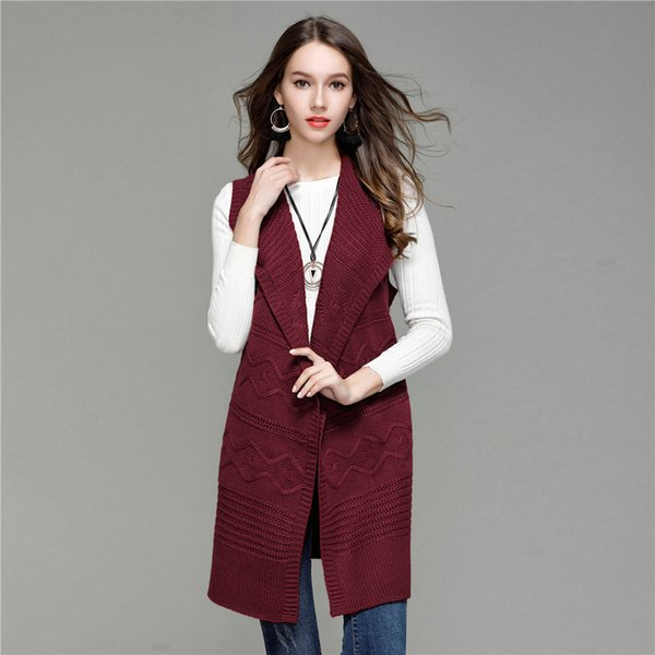 2018 Elegant Loose Long Coat Women Autumn Sleeveless Knitted WaistCoat Fashion Turn Down Collar Lady's Sweater Vest Cardigan