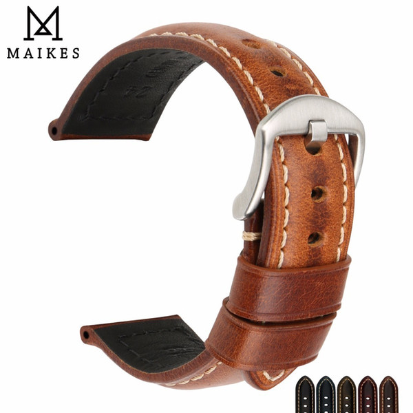 Maikes Watchband Vintage Oil Wax Leather Strap Watch Bracelet 20mm 22mm 24mm Watch Accessories Watch Band For Panerai Citizen Y19070902