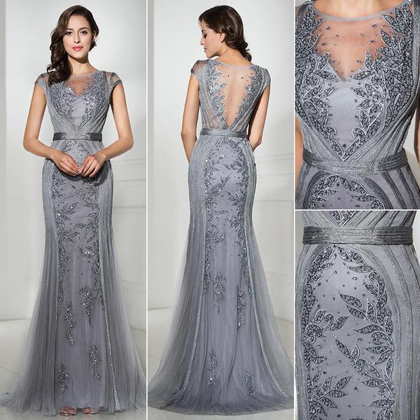 2019 magnifiques robes de soirée en or gris scoop sans manches en dentelle perles partie Pageant robes robe de célébrité arabe Vintage robes de bal