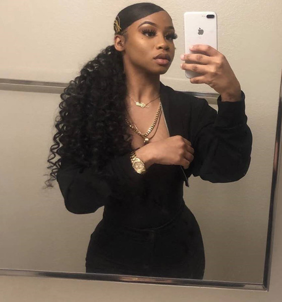 Celebrity Ponytail Hairstyle For Black Women Side Part Curly Drawstring Pony Tail Human Hair Women Hair Extension Natural 1b 100g 160g Black Hair