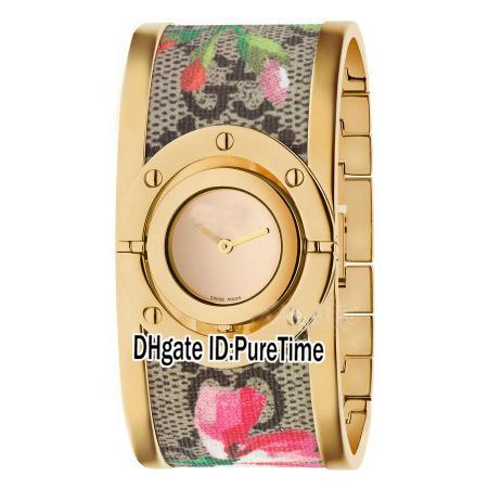 New Twirl YA112443 Gelbgold Lünette Gold Dial Schweizer Quarz Klassische Biene Gemalt Stahl Armband Damenuhr Damenuhr Original Box G08a1