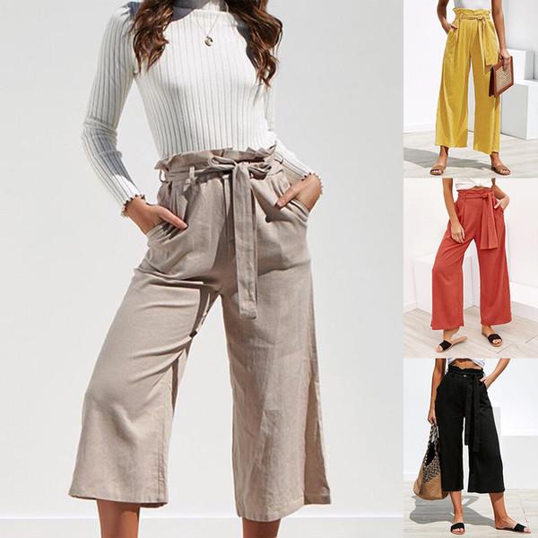 Abiti da donna alla moda Pantaloni larghi Pieghe in cotone di lino Cinturino in vita Pantaloni larghi Pantaloni Moda