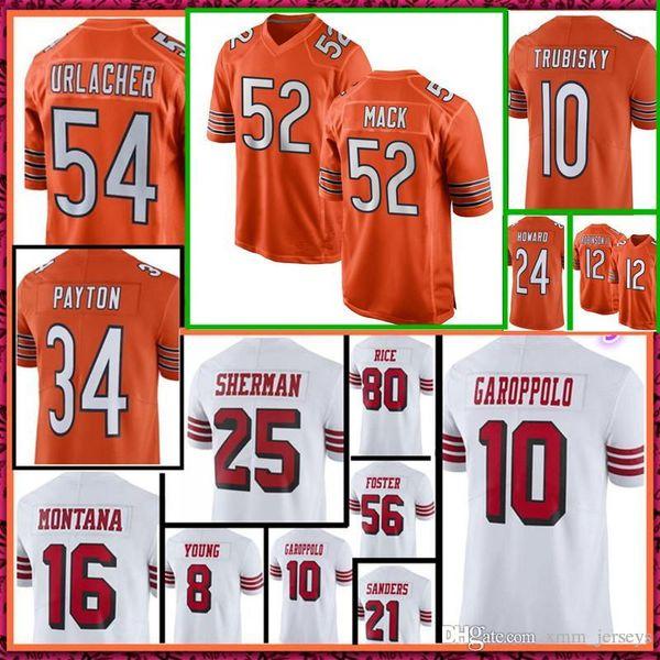 huge selection of 4c251 f6e4b 2019 2018 New Chicago Bears Jersey 52 Khalil Mack 10 Mitchell Trubisky 34  Walter Payton 54 Brian Urlacher Orange Jerseys 49ers Jimmy Garoppolo From  ...