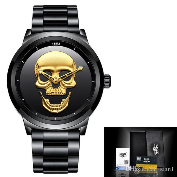 2018 LIGE Top Brand Cool Punk Style Pirate Skeleton Skull Quartz Mens Watches Full Tteel Sports Black Watch Relogio Masculino