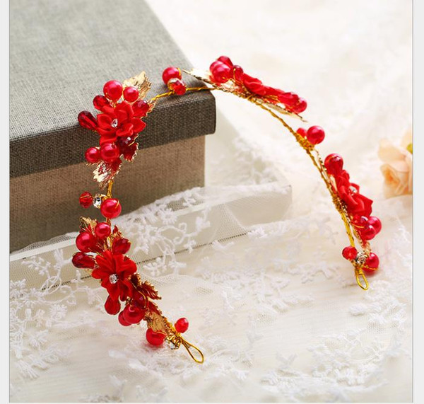 Festival de tocado de flores rojas hechas a mano, vestido de novia, accesorios de diamantes, vestido, diadema y joyería nupcial