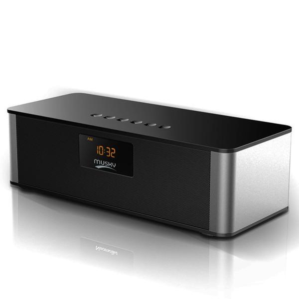 Multi-Function Portable HiFi Bluetooth Speaker with FM Radio Digital Alarm Clock, Hands-Free Speakerphone with Mic for Cellphones
