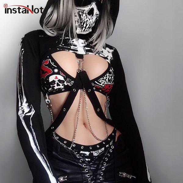 Instahot Gothic Punk Hooded Hoodies Women Black Skeleton Print Mask Long Sleeve Crop Tops 2019 Fashion Halloween Top Sweatshirt S19731