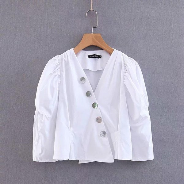 Hot Europe and the United States 2019 spring new retro shell buckle white shirt Tops White Blouses Harajuku Shirt