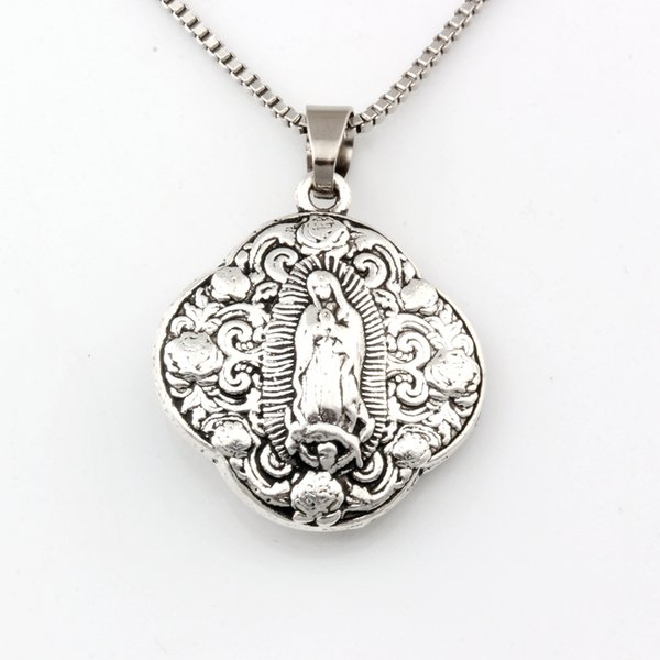 10pcs/lots antique silver virgin mary religion alloy charms pendant necklaces travel protection pendants necklaces 24inches chains a-480d