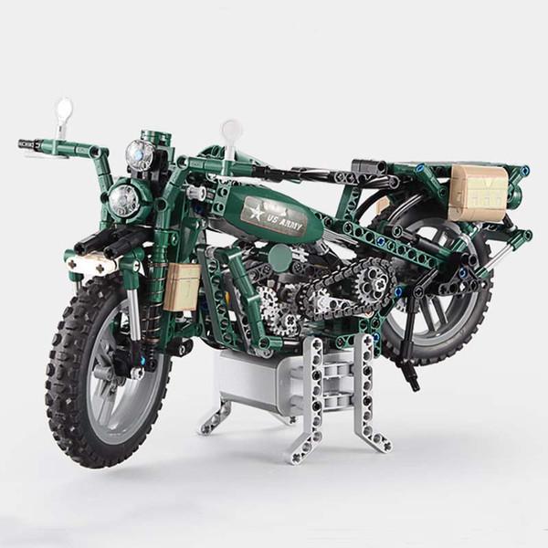 550 stücke legoings stil technik military weltkrieg WW2 Elektrische Motorrad Fernbedienung Rc Bausteine Spielzeug